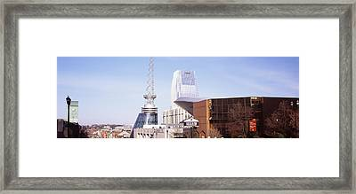 Buildings In A City, Bridgestone Arena Framed Print by Panoramic Images