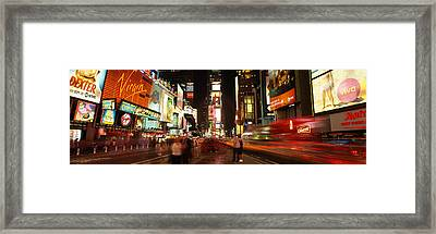 Buildings In A City, Broadway, Times Framed Print