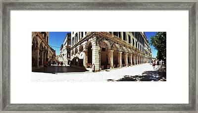 Buildings In A City, Corfu, Ionian Framed Print by Panoramic Images