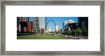 Buildings In A City, Gateway Arch, Old Framed Print