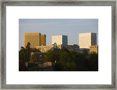 Buildings In A City, Kirchberg Plateau Framed Print by Panoramic Images