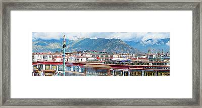 Buildings In A City, Lhasa, Tibet, China Framed Print