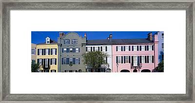 Buildings In A City, Rainbow Row Framed Print