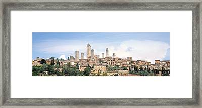 Buildings In A City, San Gimignano Framed Print by Panoramic Images
