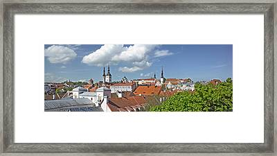 Buildings In A City, St Olafs Church Framed Print by Panoramic Images