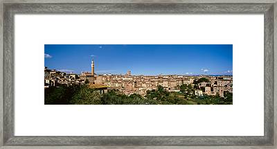 Buildings In A City, Torre Del Mangia Framed Print by Panoramic Images