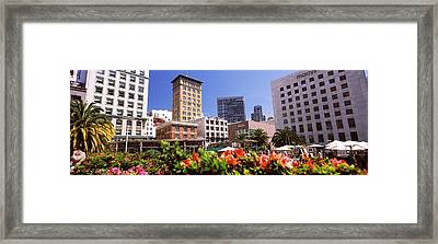 Buildings In A City, Union Square, San Framed Print