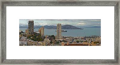 Buildings In A City With Alcatraz Framed Print by Panoramic Images