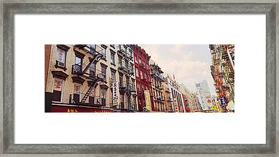 Buildings In A Street, Mott Street Framed Print
