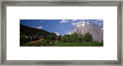 Buildings In A Village, Mt Wetterhorn Framed Print by Panoramic Images