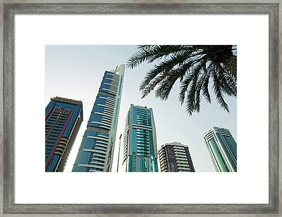 Buildings In E11 Or Sheikh Zayed Road Framed Print by Nico Tondini
