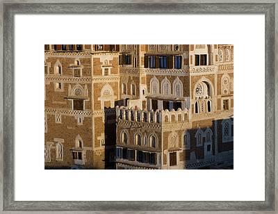 Buildings In San'a, Yemen Framed Print by Peter Adams