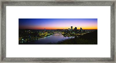 Buildings Lit Up At Dawn, Pittsburgh Framed Print