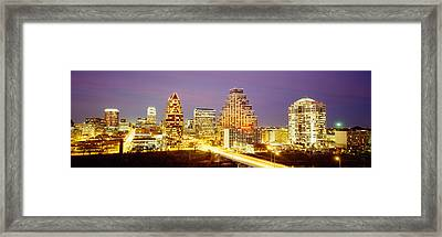 Buildings Lit Up At Dusk, Austin Framed Print by Panoramic Images