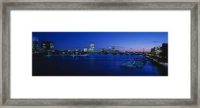 Buildings Lit Up At Dusk, Charles Framed Print by Panoramic Images