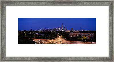 Buildings Lit Up At Dusk, Chicago Framed Print by Panoramic Images