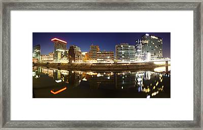 Buildings Lit Up At Dusk, Colorium Framed Print