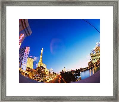 Buildings Lit Up At Dusk, Las Vegas Framed Print