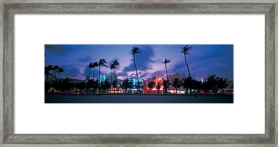 Buildings Lit Up At Dusk, Miami Framed Print by Panoramic Images