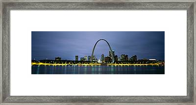 Buildings Lit Up At Dusk, Mississippi Framed Print by Panoramic Images