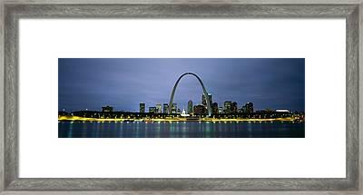 Buildings Lit Up At Dusk, Mississippi Framed Print