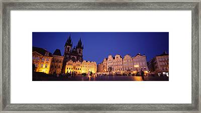 Buildings Lit Up At Dusk, Prague Old Framed Print by Panoramic Images