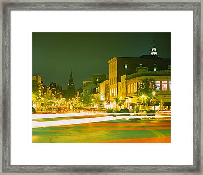 Buildings Lit Up At Night, Annapolis Framed Print