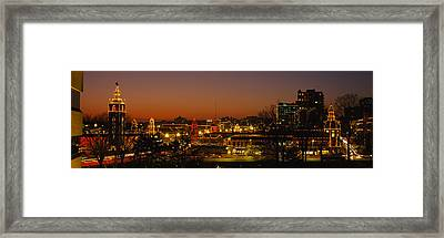Buildings Lit Up At Night, La Giralda Framed Print by Panoramic Images