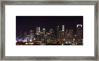 Buildings Lit Up At Night, Los Angeles Framed Print by Panoramic Images