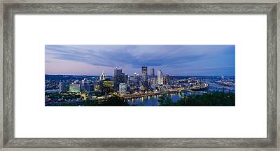 Buildings Lit Up At Night, Monongahela Framed Print