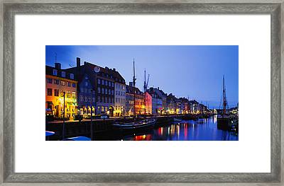 Buildings Lit Up At Night, Nyhavn Framed Print