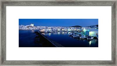 Buildings Lit Up At Night, Paros Framed Print