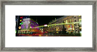 Buildings Lit Up At Night, Piccadilly Framed Print by Panoramic Images