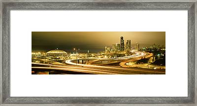 Buildings Lit Up At Night, Seattle Framed Print