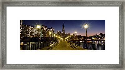 Buildings Lit Up At Night, Transamerica Framed Print by Panoramic Images