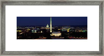 Buildings Lit Up At Night, Washington Framed Print