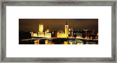 Buildings Lit Up At Night, Westminster Framed Print