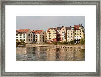 Buildings On The Danube River Framed Print by Michael Defreitas