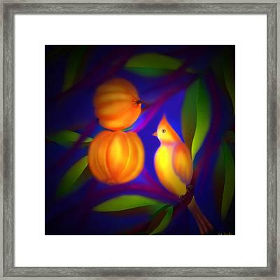 Framed Print featuring the digital art Bulbul Resting On A Gambooge Tree by Latha Gokuldas Panicker