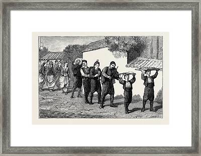 Bulgaria, A Marriage Procession The Bridegroom Sending Framed Print by English School