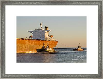 Bulk Carrier Being Guided By Tugs Close Up On Bridge Framed Print by Colin and Linda McKie
