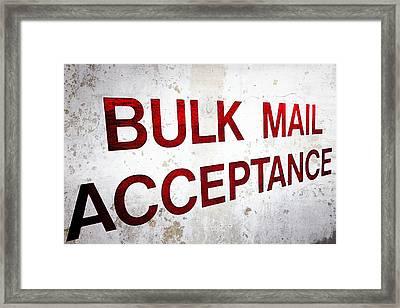 Bulk Mail Acceptance Framed Print