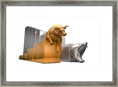 Bull And Bear Economic Trends Framed Print