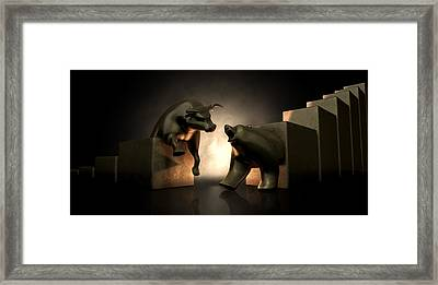 Bull And Bear Market Statues Framed Print