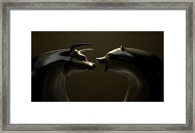 Bull And Bear Market Trend Bronze Castings Framed Print by Allan Swart
