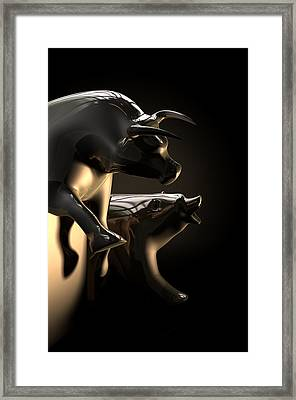 Bull And Bear Stock Market Statues Framed Print