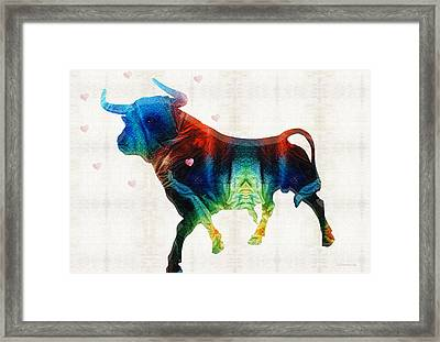 Bull Art - Love A Bull 2 - By Sharon Cummings Framed Print by Sharon Cummings