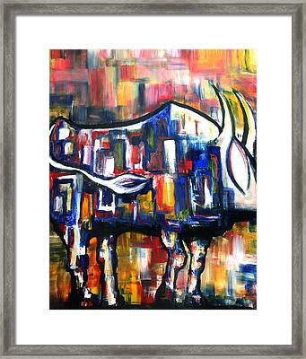 Bull At Sunset Framed Print