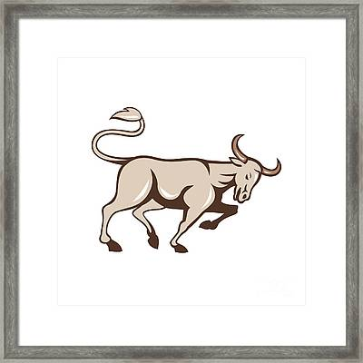 Bull Charging Side Cartoon Framed Print by Aloysius Patrimonio