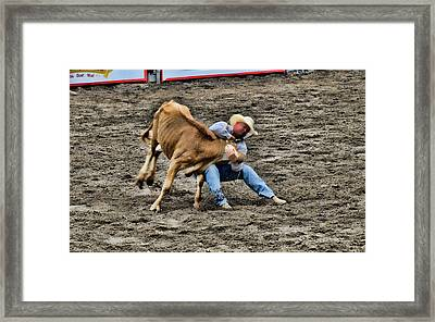 Bull Dogging Framed Print